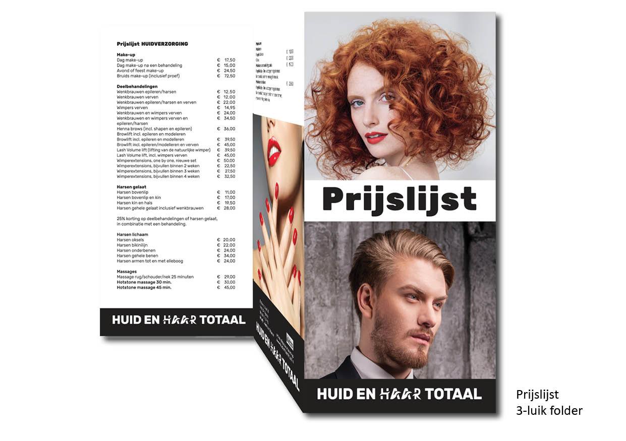 Prijslijst 3-luikfolder reclame Nijverdal